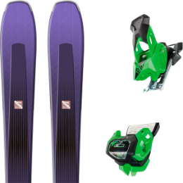 Pack ski+fix SALOMON SALOMON AIRA 84 TI PURPLE/BLACK 20 + TYROLIA ATTACK² 13 GW GREEN W/O BRAKE 19 - Ekosport
